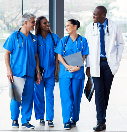 group of medical staff talking